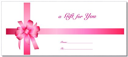 Envelopes Included With All Gift Certificates Order